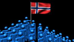 Zooming out from pyramid of men with rippling Norway flag animation Stock Footage