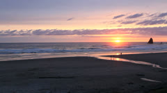 Oregon Canon Beach at sunset Stock Footage