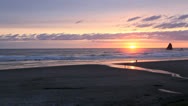 Stock Video Footage of Oregon Canon Beach at sunset