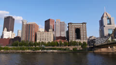 Pittsburgh Skyline from the Allegheny River Stock Footage