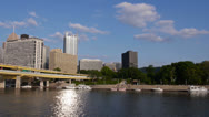 Stock Video Footage of Pittsburgh Skyline from the Allegheny River