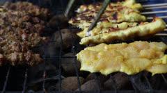 Chicken Satay Stock Footage