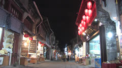 Night market Chinese ancient town, Huangshan Stock Footage