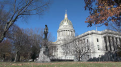 West Virginia state capitol building & Stonewall Jackson Stock Footage