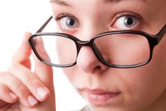 teenager girl in glasses - stock photo