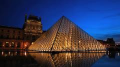 Louvre Museum. Beautiful Sunset- Musée du Louvre, Paris, France Stock Footage