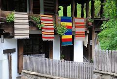 Traditional bulgarian woven fabrics Stock Photos
