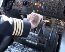 Boeing 747 pilot in Cockpit thrust on  PAL Stock Footage