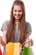 Stock Photo of teenager girl with shopping bags