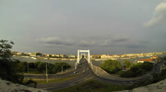 A view from Citadella. Elisabeth Bridge in front and Budapest in the background Stock Footage