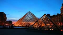 Louvre Museum. Colorful Sunset- Musée du Louvre, Paris, France Stock Footage