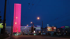 New bussines building with night illumination, Saint-Petersburg, Russia Stock Footage