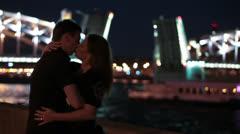 Loving couple kissing during drawbridge opening Stock Footage