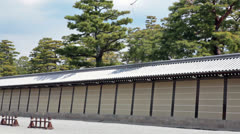 Camera review of wall and Siesho-mon gate of Imperial Palace in Kyoto, Japan Stock Footage