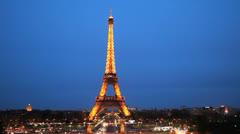Paris, France. Eiffel Tower. La Tour Illuminated. Headlight, Sunset 12 Stock Footage