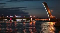 The opened Trinity Bridge, Saint-Petersburg Stock Footage