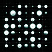 High tech abstract desgin with blurred cyan dots in a balck grid background. Stock Illustration