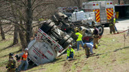 Stock Video Footage of Overturned Tanker