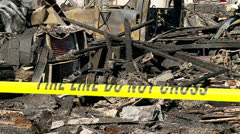 Fire Scene Aftermath Stock Footage