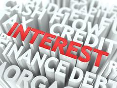 Interest. The Wordcloud Concept. Stock Illustration