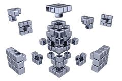 3D Cubes - Assembling Parts - stock illustration