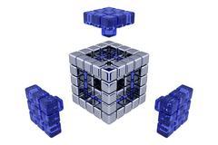 3D Cubes - Assembling Parts - Blue Glass - stock illustration