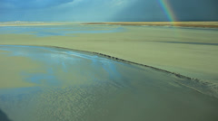 Rainbow in the Bay of Mont Saint-Michel - France Stock Footage