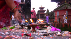 Candles for religious offerings Stock Footage