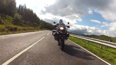 A man rides a motorcycle - stock footage