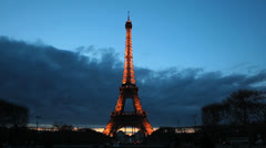Paris, France. Eiffel Tower. La Tour Illuminated. Clouds, time lapse, Sunset 23 Stock Footage