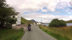 Ride Motorbike in Portree Stock Footage