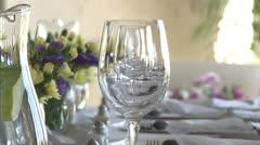Wedding, Function Set Table Crane shot NTSC Stock Footage