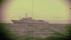 Real periscope view from a submarine Stock Footage