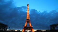Paris, France. Eiffel Tower. La Tour Illuminated. Light show, Sunset 24 Stock Footage