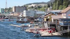 Ketchikan Alaska Sea Plane Docks Stock Footage