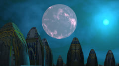 City of aliens, moon and UFO Stock Footage