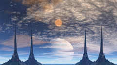 Towers of aliens, gas giant and moon Stock Footage