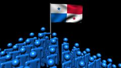 Zooming out from pyramid of men with rippling Panama flag animation Stock Footage