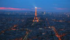 Paris - Eiffel Tower -Sunset 11. Unique and beautiful scene. Magical Light Stock Footage