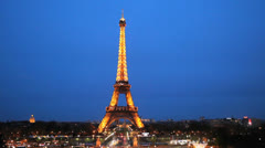 Paris, France. Eiffel Tower. La Tour Illuminated. Traffic, cars. Sunset 25 Stock Footage