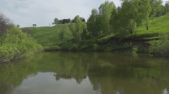 Calm summer landscape at the river Stock Footage