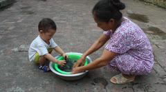rural woman washing mussels to cook, asia - stock footage