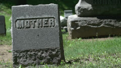 Mother Headstone in a Cemetery Stock Footage