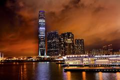 Stock Photo of international commerce center icc building kowloon hong kong harbor at night