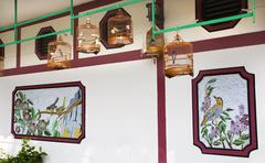 Bamboo cages wall hong kong bird market Stock Photos