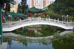 Chinese water garden bridge wong tai sin taoist temple kowloon hong kong Stock Photos