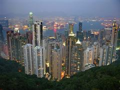 hong kong from victoria peak early evening - stock photo
