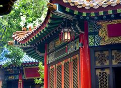 Ancient roofs pavilions lantern wong tai sin good fortune taoist temple kowlo Stock Photos