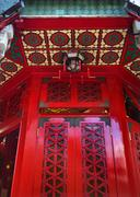 Red window wong tai sin taoist temple kowloon hong kong Stock Photos
