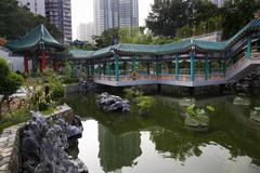 Chinese water garden wong tai sin taoist temple kowloon hong kong Stock Photos